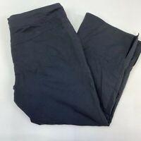 Prana Capri Pants Women's Small Black Flat Front Drawstring Waist Straight Leg