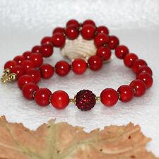 Korallen Kette Shamballa Perle 290ct rot – 925 Silber vergoldet – Gold Hämatit