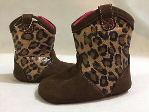 Stride Rite Jessica Simpson Boots Baby Toddlers Size 2 Leopard Brown Leather
