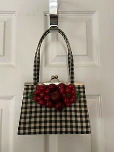 Womans David Salvatore Small Black/White Gingham Style Satchel Handbag