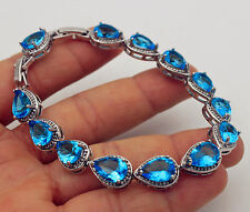 18K White Gold Filled- 7*10MM Blue Waterdrop Topaz Bride Gemstone Bracelet 7.7''