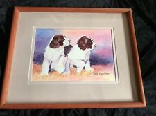ENGLISH SPRINGER SPANIEL PUPPIES DOG WATERCOLOUR PAINTING By Bertie Stroup Marah
