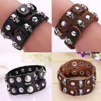 Fashion Skull Leather Bracelet Cuff Wristband Gothic Biker Rock Punk Men Women