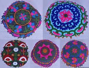 """Indian 16"""" Vintage Pillow Handmade Round Suzani Embroidered Cushion Cover Design"""
