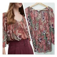 [ WITCHERY ] Womens Floral Print Pleated Blouse Top | Size AU 12 or US 8
