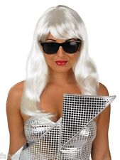 Ladies Blonde Lady Gaga Music Celebrity Wig & Glasses Fancy Dress Costume Outfit