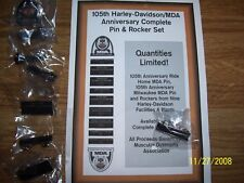 105th Anniversary Harley-Davidson/MDA Complete Rocker and Pin Set NIP -