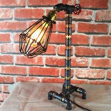 New Industrial Rustic Retro Urban Steel Pipe Desk Table Lamp Edison Light Bulb