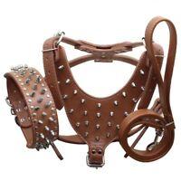 Spiked Studded Leather Dog Harness+Collar+Leash 3pcs set Big Dog Pitbull Mastiff