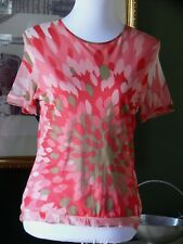 MAG by Magaschoni Lined Peach Silk S/S Top Blouse L
