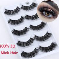 SKONHED 5 Pairs 100% Mink Hair Soft Long Thick False Fake Eyelashes Extension