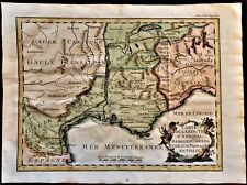 ANTIQUE MAP OF THE HANNIBAL'S ROUTE IN GAUL & PASSAGE IN ITALY  1742