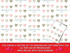 Personalised Valentine's Day Wrapping Paper - Vintage Shabby Chic Love Hearts
