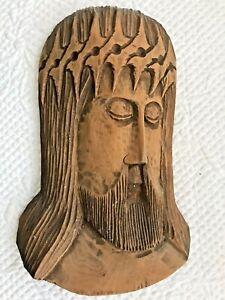 Vintage MCM Carve Wood Abstract Brutalist Jesus Crown of Thorns Wall Sculpture