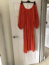 H&M Premium del hombro Vestido Maxi Rayas Lurex Oro Naranja 44 Reino Unido 14/16