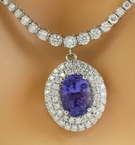 12.07 Carat Natural Tanzanite 18K White Gold Diamond Necklace