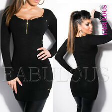 New Sexy Women's Studded Sweater Mini Dress Long Jumper Knit Size 6 8 10 XS S M