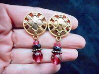Authentic Vintage Gold Tone Dangle Pink & Black Clip Earrings