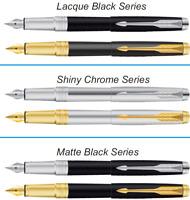Parker Aster Premium Ink Fountain Pen Gold & Chrome Trim Steel Black Frontier