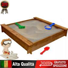 Sabbiera per Bambini Quadrata Legno Giardino Giochi Sabbia da Esterno