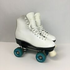 Dominion Women's 7 Marathon IV White Leather Roller Skates Vintage Legend Wheels