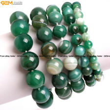 "Women Round Stripped Agate Beaded Energy Jewelry Bracelet 7"" Christmas Gift DIY"