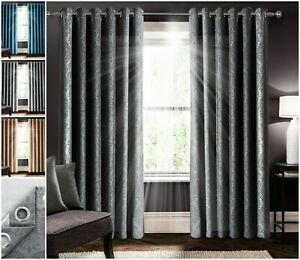 Thermal Blackout Curtain Ready Made Eyelet Ring Top Pair Curtains with Tie Backs
