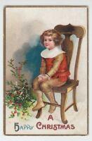 """[42440] 1909 POSTCARD ARTIST SIGNED ELLEN H CLAPSADDLE """"A HAPPY CHRISTMAS"""""""