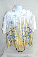 Chite Men's Short Sleeve Shirt Skater Themed Button Up Color White Size XL