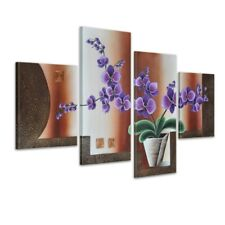 Leinwandbild 4 teilig 120x80cm Handgemalt Blume M8
