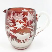 """Antique Bohemian Ruby Red Cut to Clear Glass Pitcher Elk Deer Stag Czech 6"""""""