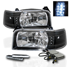 1992-1996 FORD F150 F250 F350 BRONCO 1PC BLACK LED HEAD LIGHTS+DRL KIT+6000K HID
