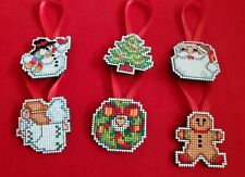 Six Counted Cross Stitch Christmas Ornaments