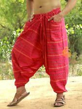 Men Cotton Pink Pockets Harem Yoga Pants Women Striped Drop Crotch Pants SC