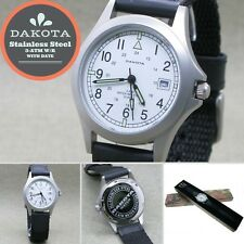 DAKOTA Rare Stainless Steel Old Edition 3-ATM WR Quartz Mens Watch with Date G01