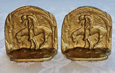 END-of-the-TRAIL-Indian-On-A-His-Horse-Vintage -Bookends-Metal-Original 1930's