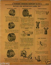 1915 PAPER AD Old Sol Motorcycle Head Light Headlight Lamps Brass 1500 Candle