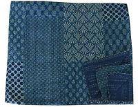 Indigo Blue Queen Size Kantha Quilt Bedspread Blanket Bedding Throw Reversible