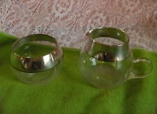 Vintage Dorothy Thorpe Crystal Glass Roly-Poly Sugar & Creamer Silver Band