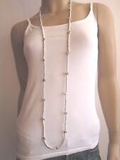 Modekette lang Damen Hals Kette Modeschmuck Silber Perlen Blumen Lagenlook