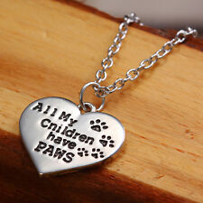 Animal Lover Gifts Silver All My Children Have Paws Dog Cat Paw Print Necklace
