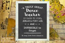 Personalised Great Dance Teacher Thank You Picture Print Gift Leaving Present