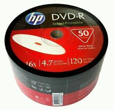 50 HP DVD-R  4.7GB 16X 120 Min DVDR Recordable White Inkjet Printable 1X50 pack