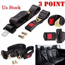 Universal 3 Point Auto Vehicle Car Seat Belt Lap Adjustable Safety Belts Black z