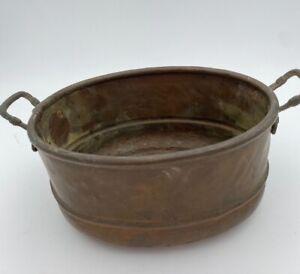 Vintage Handmade Oval Brass/Copper Pot Indoor Planter Made in Turkey