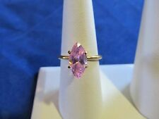Big 15mm Pink Marque Cut CZ Gold Plated Womens Fashion Ring Sz 9