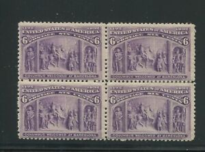 1890 United States Postage Stamps #235 Mint Hinged F/VF OG Block of 4