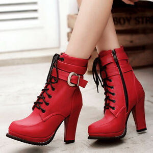 Women Platform Boots Round Toe Lace Up Chunky Heel Combat Booties US 6 Red