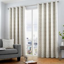 """Curtina """"Camberwell"""" Geometric Print Fully Lined Eyelet Curtains Silver"""