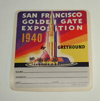 1940 San Francisco Golden Gate Expo Greyhound Bus Luggage Label Unused NOS New